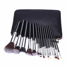 15pcs Makeup Brushes Powder Foundation Eyeshadow Concealer Eyeliner Lip Brush Tool Black/Silver Premium Kit Set with Makeup Bag