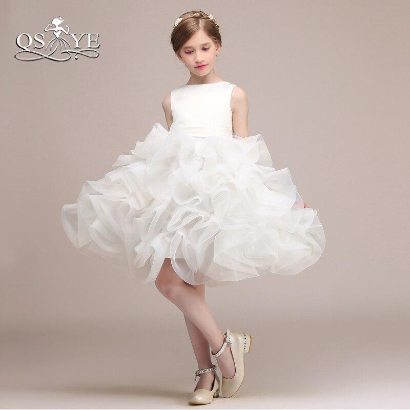 QSYYE White Ivory Ball Gown Flower Girl Dresses for Weddings Ruffles ...