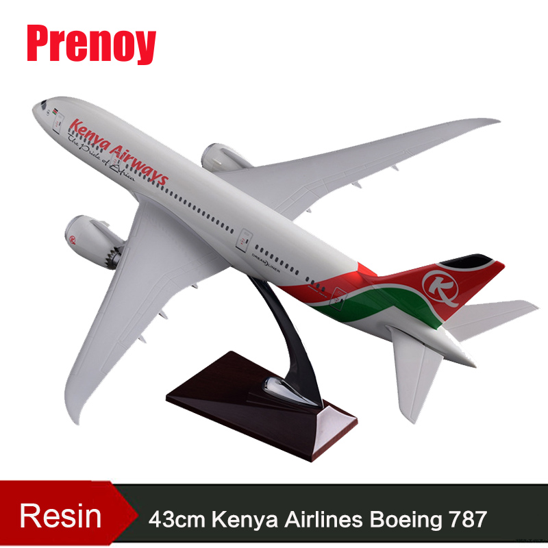 43cm Resin B787 Kenya Airlines Airplane Model Boeing 787 Airbus Airways Aviation Model Kenya Plane Aircraft Aviation Model Toys 47cm shunfeng white boeing 757 resin sf express airlines airplane model b757 cargo airbus logistics airways aircraft plane model