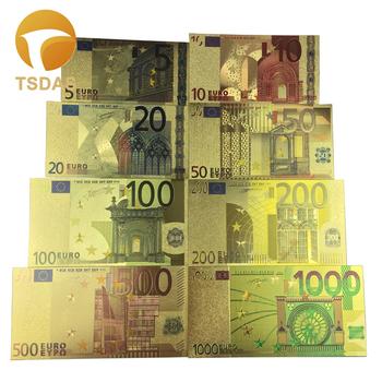 Darmowa wysyłka 8 sztuk kolor Euro banknoty zestaw kolorowe 5-1000 złote europejskie banknoty kolekcja tanie i dobre opinie TSDAS Patriotyzmu Metal Europa