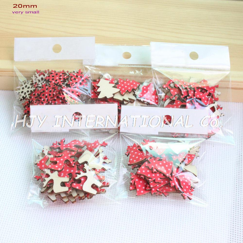 Small wooden christmas tree ornaments -  5styles 150pcs Set 20mm Fabric Topr Wood Back Christmas Ornaments Very Mini