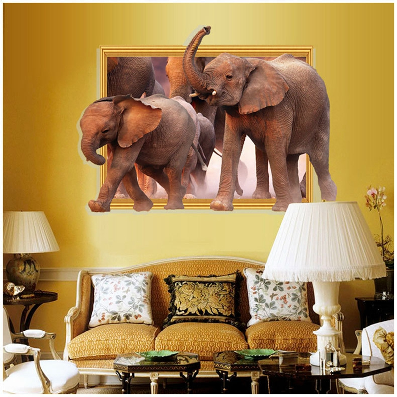 New Arrival 3D Wall Stickers African Elephant Stickers Removable Diy Vinyl Quote Home Decoration Mural Posters 60X90cm CP0416
