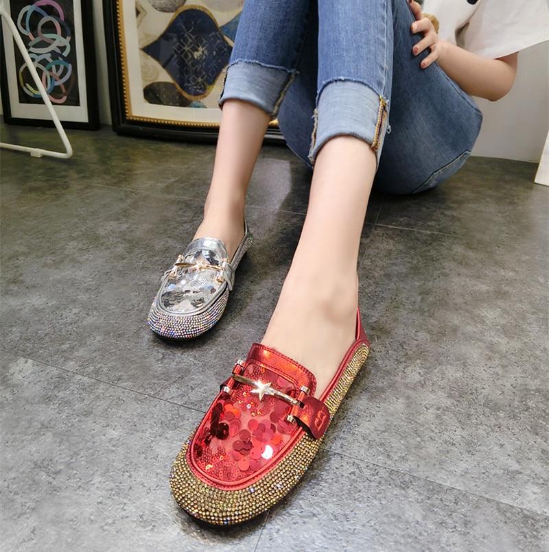 Dames Loafers Ronde Neus Luxe Strass Dames Schoenen Mode Bling Platte - Damesschoenen - Foto 3