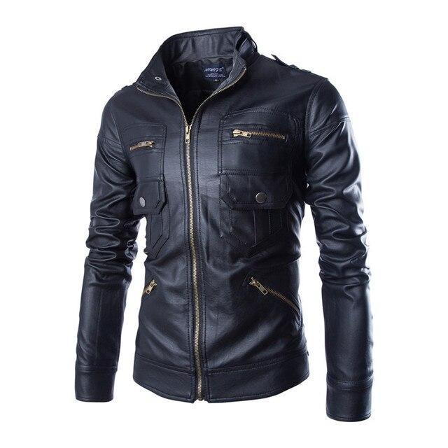 Повседневная Осень Кожаная Куртка Мужчины Jaqueta Де Couro Masculina Марка Мужские Куртки И Пальто Chaqueta Hombre Мотоцикл Куртка 1103
