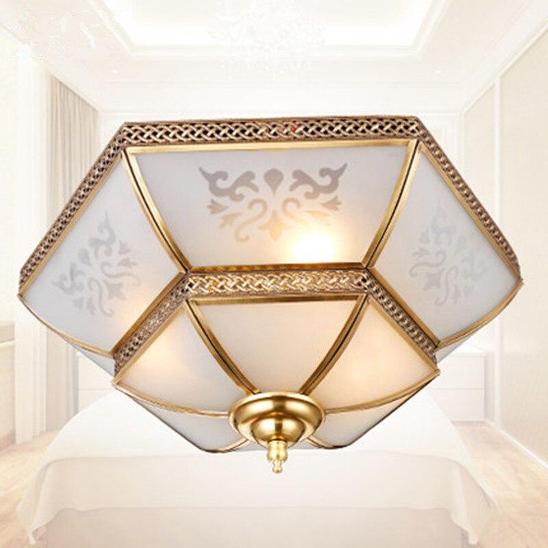 Plně měděná ložnice Evropské luxusní stropní svítidla plné měděné osvětlení restaurace