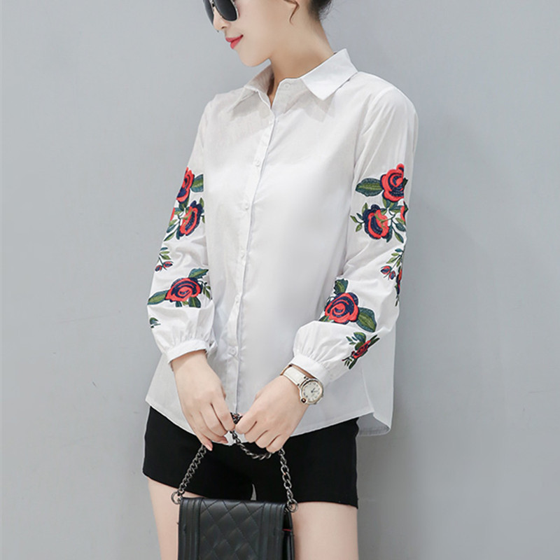 89dd0a94606cdd 2018 New Spring Women Long Sleeve Blouse Rose Floral Embroidery Work Shirts  Women Office White Tops Ladies Blue Striped Blouses