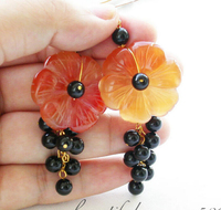 Free Shipping 30mm The Red Agare Carved Flower Round Black Bead Dangle Earring 14k 6 09