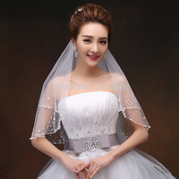 2016 New Style 2 Layers Ivory Beaded Edge Pearl Sequins Bridal Accessories Velo Wedding Veil With Comb
