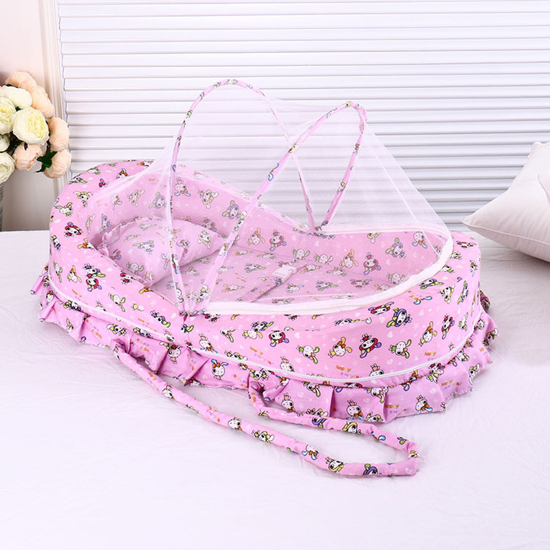 Summer Anti-mosquito Net Baby Crib Sleeping Basket Ger Type Travel Portable Newborn Crib With Mosquito Net Cover Bedding Pillow