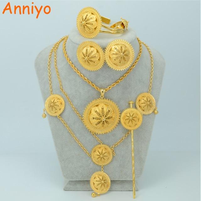 Anniyo BIG SIZE Ethiopian Wedding Jewelry Set NecklaceHair Piece