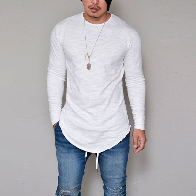 Solid Long Sleeve Men T Shirt