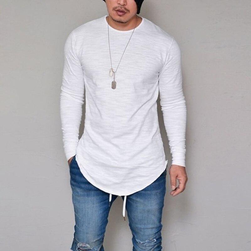 10 colores más tamaño S-4XL 5XL verano y otoño moda Casual Delgado elástico suave sólido manga larga hombres camisetas camiseta para hombre