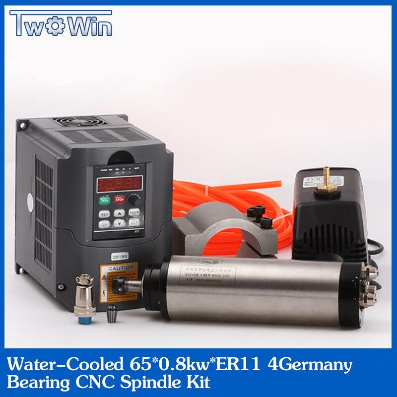 Топ ЧПУ 65 мм 0.8KW ER11 с водяным охлаждением шпинделя двигатель и привод Инвертор VFD + шт. 13 шт. er11
