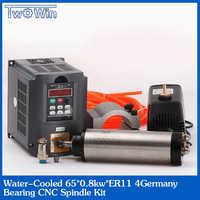 トップ CNC 65 ミリメートル 0.8KW ER11 水冷スピンドルモータ & ドライブインバータ VFD + 13 個 ER11 65 ミリメートルクランプポンプ 800 ワット水がスピンドルキット