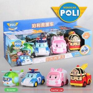 Image 1 - 4pcs Original boy poli Robocar Korea Poli Inertial Car Kids Toys Transformation Anime Action Figure Toys For Children Playmobil