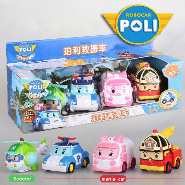 4pcs Original boy poli Robocar Korea Poli Inertial Car Kids Toys Transformation Anime Action Figure Toys For Children Playmobil