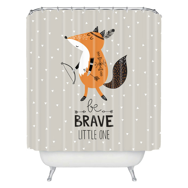 Cartoon Fox Polyester Waterproof Bathroom Shower Curtain Customized Bath Wholesale
