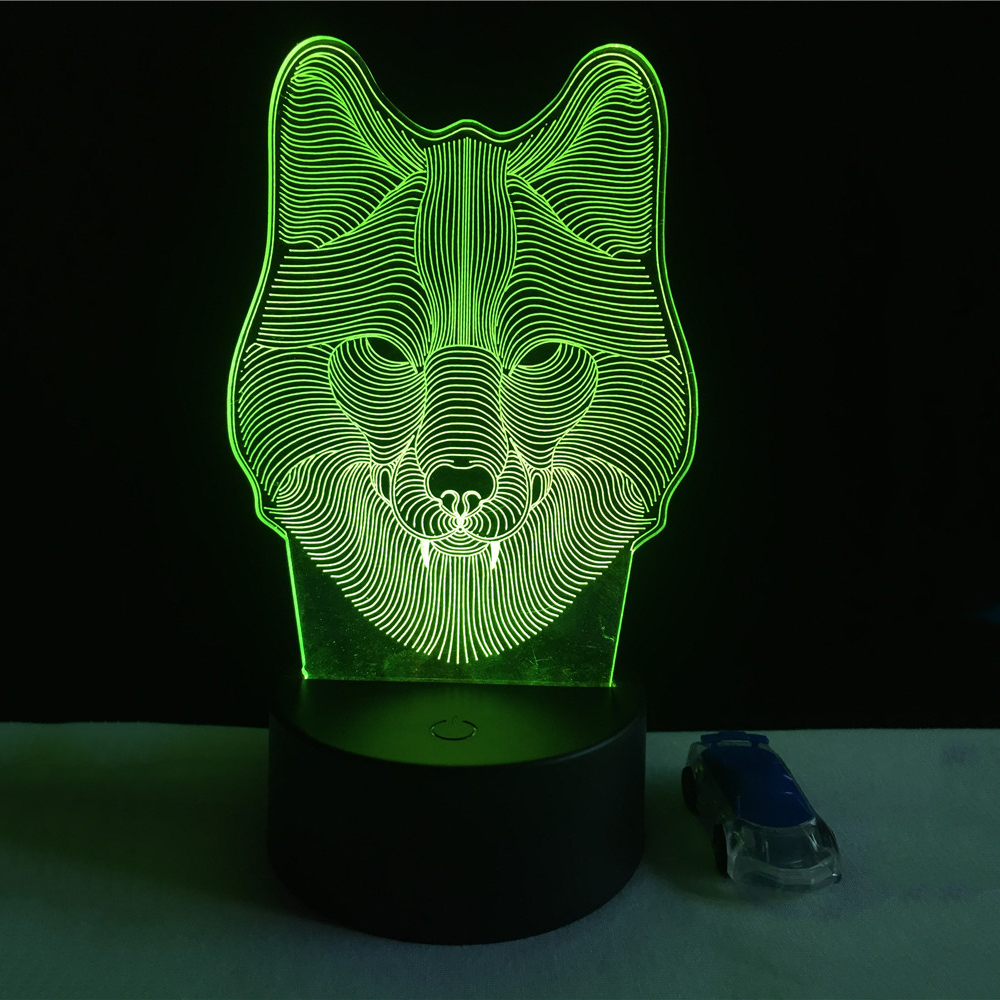 7 Color Wolf Lamp 3D Visual Led Night Lights for Kids Touch USB Table Lampara  Lampe Baby Sleeping Nightlight three dimensional 3d visual reading lights wood acrylic clear small lamp button type led stereo night light folding book lights