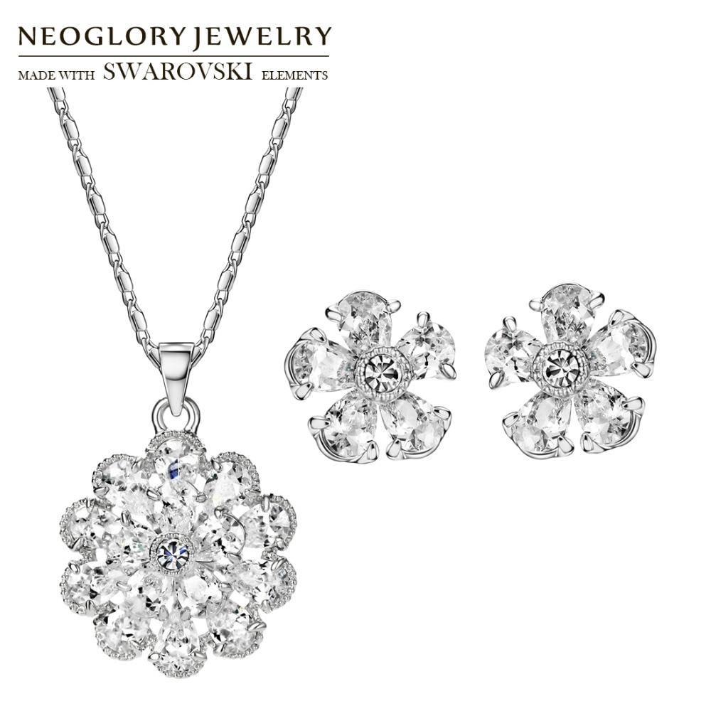 Neoglory Earrings Jewelry-Set Necklace Zircon Flower-Shaped Rhinestone Wedding Brilliant