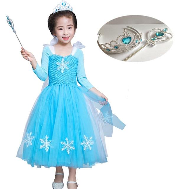 Girls Carnival Costume Blue Elsa Snow Queen Dress Up Halloween