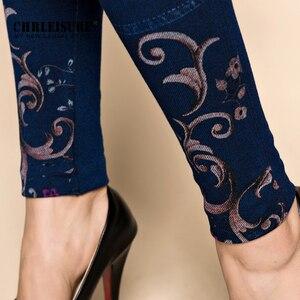 Image 5 - Женские джинсовые леггинсы CHRLEISURE, облегающие хлопковые джеггинсы с цветочным принтом, леггинсы с имитацией джинсовой ткани, на осень