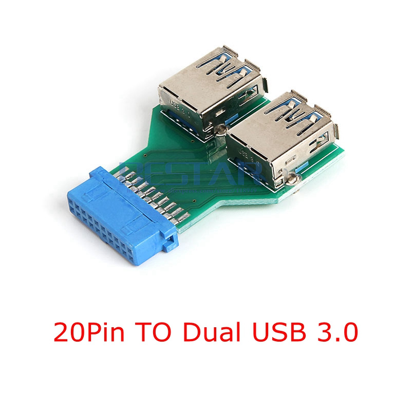 20Pin to Dual USB3.0 Adapter card, Desktop <font><b>Motherboard</b></font> 19 Pin / 20 pin Header To 2 Ports <font><b>USB</b></font> <font><b>3.0</b></font> A Female <font><b>Connector</b></font> card reader image
