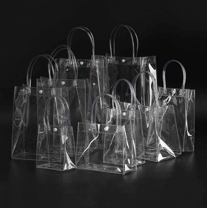 1PC Fashion Women Clear Transparent Shopping bag Tote New Beach Bag Handbag Recycling Pack Solid Large Bucket For Women men