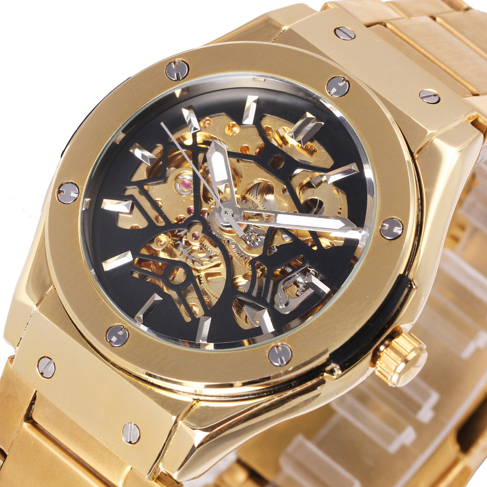WINNER Luxry Men Auto Mechanical Watch Stainless Steel Strap Bolt Black Bird Skeleton Dial FORSINING Wristwatch New Year Gift все цены