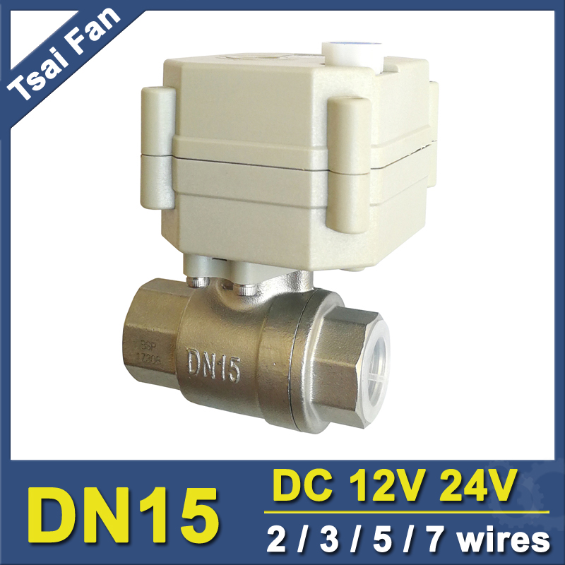 DC12V/24V Stainless Steel 1/2'' Motorized Ball Valve With Manual Override And Indicator 2 Way DN15 Electric Shut Off Valve