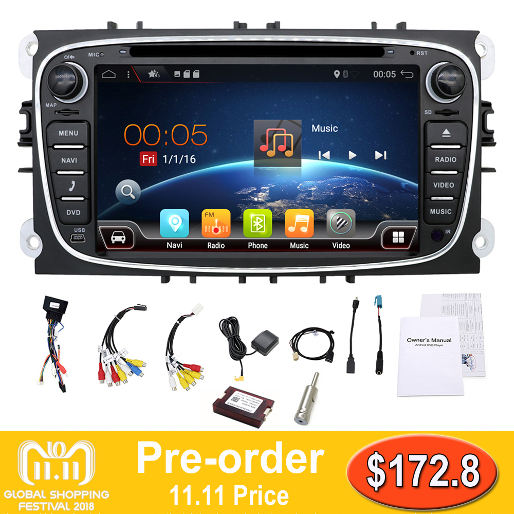 2 din Android 7.1 Quad Core Car DVD Player GPS Navi for Ford Focus Mondeo Galaxy with Audio Radio Stereo Head Unit Free Canbus seicane 2 din 10 1 android 7 1 android 6 0 quad core car radio gps navi stereo unit player for 2014 2015 hyundai ix25 creta