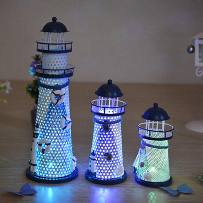 1pc Desk Decor Lighthouse Figurines Metal Craft Light House Beacon Home Decoration Maritime Navigation Night Light House P0.2