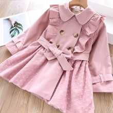 autumn girls trench coat solid ruffles pink fashion baby outerwear boutiques kids clothes korean children outift