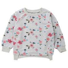 Casual Long Sleeve Flower Print Girls Sweatshirt Toddler Hoodie Girl Clothing Autumn Gray 1PCS Drop Shipping girls flower print hoodie