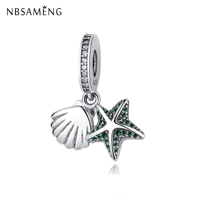 d3dd438d9 Authentic 100% 925 Sterling Silver Charm Bead Tropical Starfish & Sea Shell  Dangle Charms Fit Pandora Bracelet Women DIY Jewelry