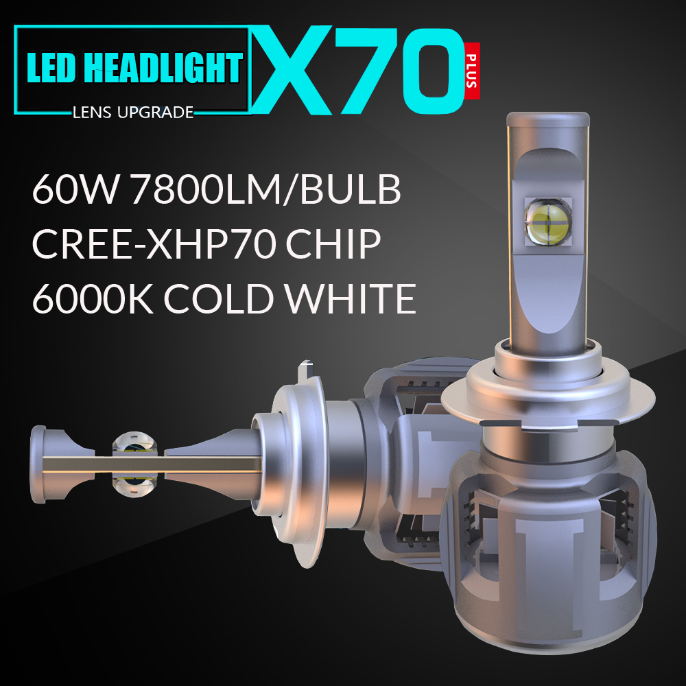 X70 H7 LED Bulb Headlight 60w 7800lm 6000k Car Bulbs XHP70 Chip Turbo Headlights Automotive Headlamp Motorcycle Fog Lamp H4 H11 maytoni подвесной светильник maytoni bird arm013 pl 01 w