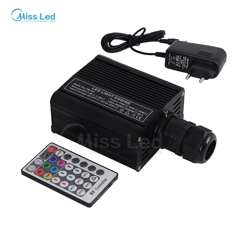 Livraison gratuite RGBW 16W LED Fibre Optique Moteur Pilote avec 28 clé RF Télécommande Pour Tous Les Types Fibre Optics
