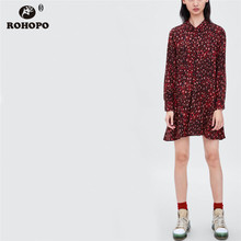 ROHOPO Autumn Red Leopard Baggy Dress Full Sleeve Buttons Fly Flare Hem Mini Preppy Girl #OYK8726