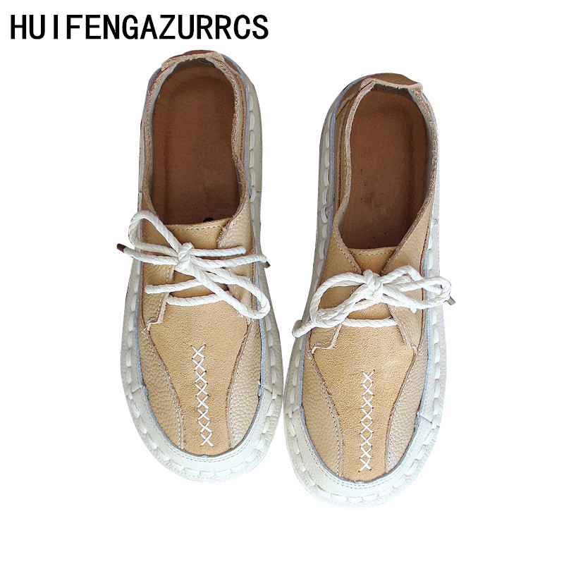 HUIFENGAZURRCS-Genuine leather hand-made womens shoes, literary artistic retro-vintage flat-soled low-upper soft shoes