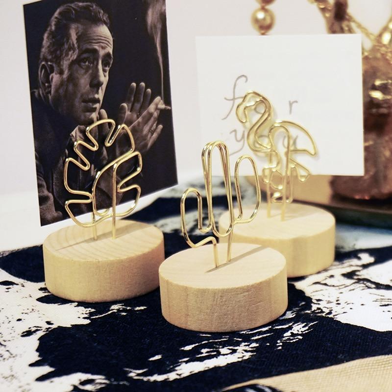 Rainforest Metal Wood Memo Clips Monstera Flamingo Photo Holder Clamps Business Card Holder Desk Accessories