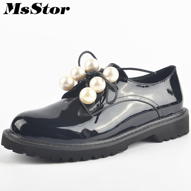 MsStor Round Toe Cross tied Women Flats Casual Fashion Ladies Flat Shoes 2018 New Spring Loafers Pearl Women Brand Flat Shoes 2018 spring autumn woman shoes casual fur loafers women warm ladies flats round toe girls 35 39 fashion shoes women 9033 1