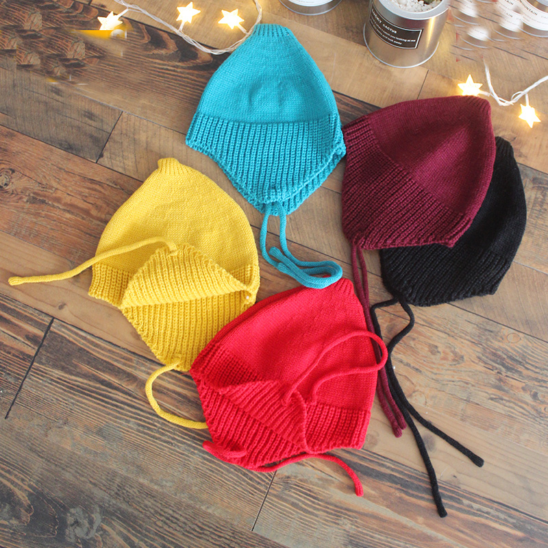 (10 Colors)Wool Knitting Children Cap Baby Boy Headwear Beanie Girl Winter Hat Kids Bucket Hat Bebes Cap Bonet for 2-4Yrs the new children s cubs hat qiu dong with cartoon animals knitting wool cap and pile