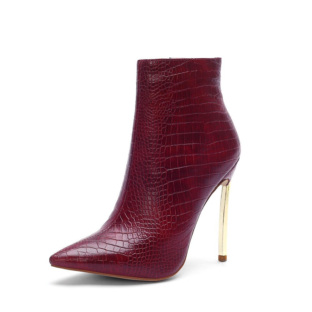 2018 autumn winter pu leather boots women metal stiletto heels ankle boots pointed toe thin high heels boots sexy ladies shoes esveva 2018 women boots pointed toe genuine leather pu thin high heels ankle boots zippers sexy ladies buckle boots size 34 39