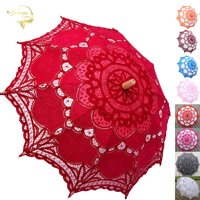 Elegant Cotton Embroidery Lace Parasol Outdoor Summer Sun Umbrella For Wedding Decoration Photograph Bridal Bridesmaid Umbrella
