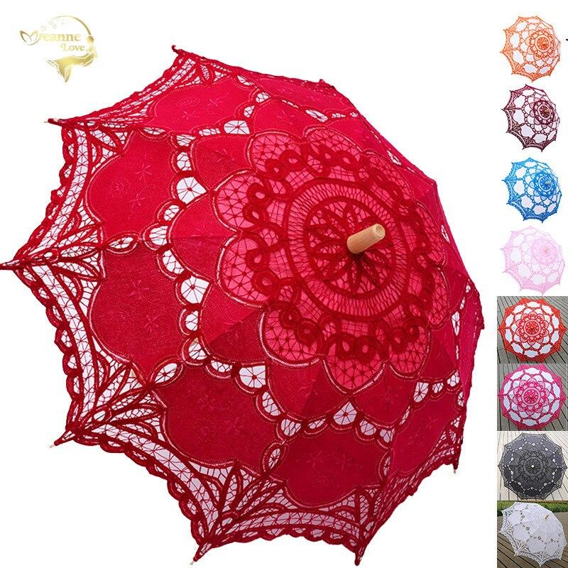 Elegante algodão bordado rendas parasol verão ao ar livre sol guarda-chuva para decoração de casamento fotografia nupcial dama de honra guarda-chuva