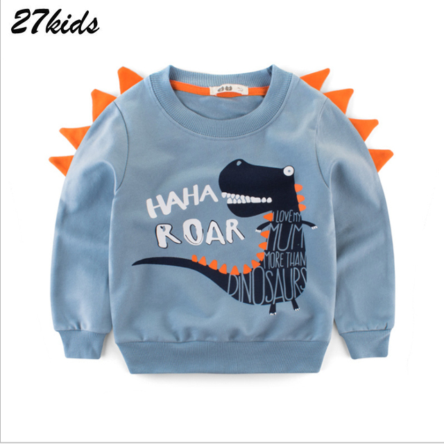 27kids kids Cartoon Print Baby Boys Dinosaur Hoodies Sweatshirts For Spring Infant Kids Boys T-Shirts Clothes Cotton Clothes 3