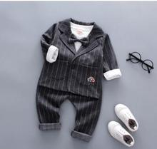 Childrens Clothing 2019 Spring and Autumn Baby Boy Clothes Set Formal Striped Suit+long Sleeve +pant 3 Pcs for A QHQ061