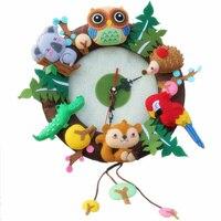 Забавный настенные часы Бесплатная Резка Фетр Материал DIY наборы лесных животных Сова попугай тема ручной работы ткань часы для decorartion