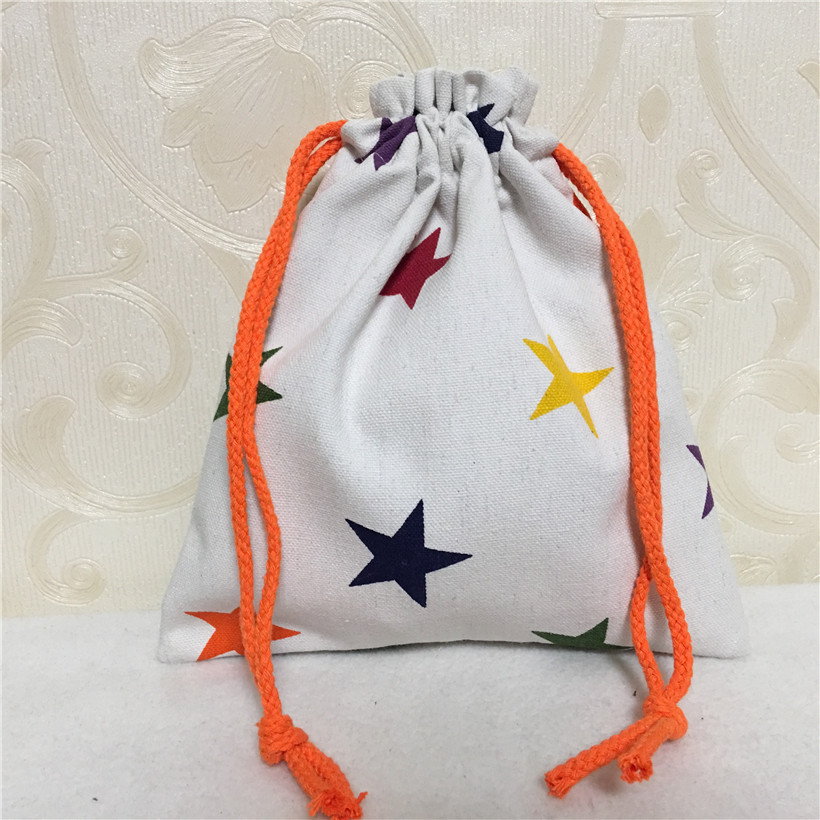 YILE Cotton Canvas Drawstring Organizer Bag Phone Key Coin Party Gift Bag Colorful Star N8502-6