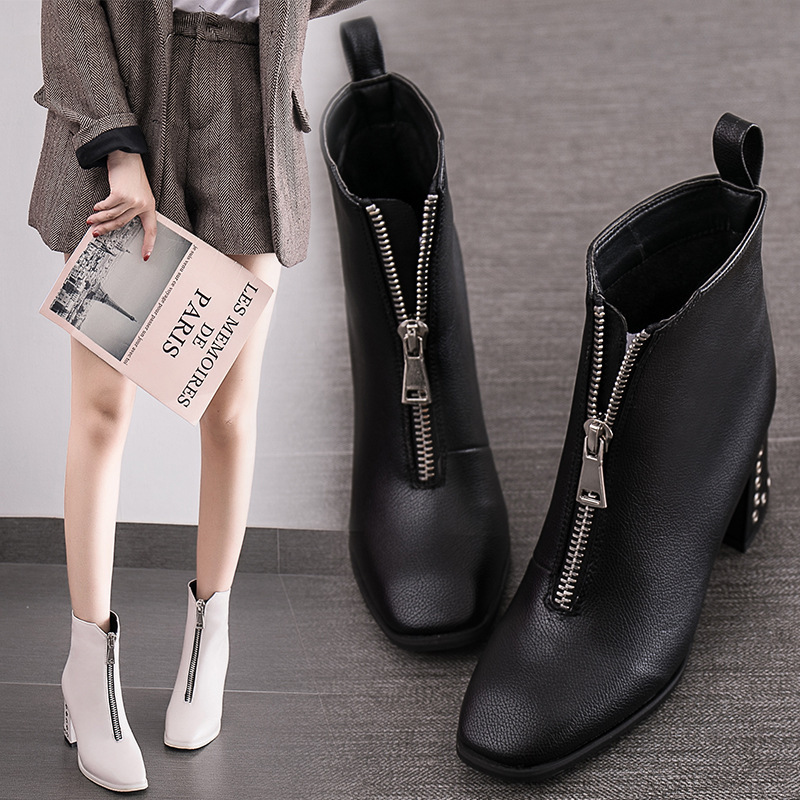 Square Toe Chunky heel platform ankle boots women Martin