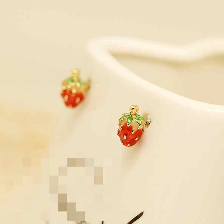 Japanese Girl Fashion Magazines Recommend Small Strawberry Caiyou Stud Earrings Women Jewelry 2018 Set Earrings For Women